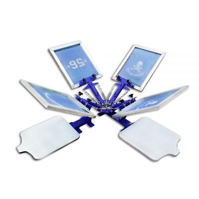 4 Color Screen Printing Machine 2 Station Press Equipment Screen Kit Printer