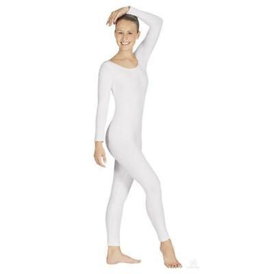 Body Wrappers MT217 Adult Size Medium (8-10) White Full Body Long Sleeve - Full Body Unitard