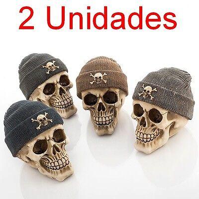 2 x Hucha Calavera con Gorro Pirata,ranura pa dinero,tapón plástico,llave metal