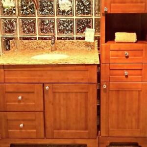 Beautiful SOLID WOOD Bathroom Vanity / Cabinet - CLEARANCE SALE !
