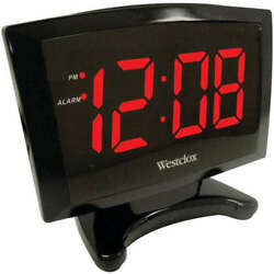 Westclox 70028 Plasma LED Alarm Clock Adjustable Display Brightness - 1.8''
