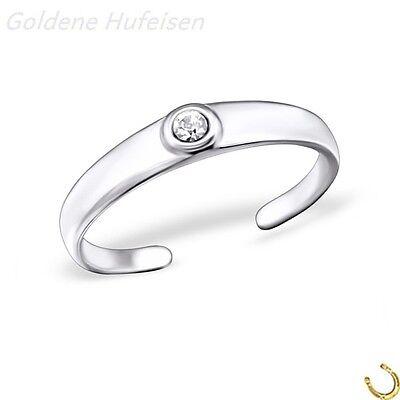 ZEHENRING Weiss Kristall 925er Silber Zehring Geschenkidee Verstellbar 9595