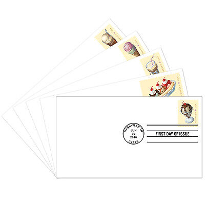 USPS NEW SODA FOUNTAIN FAVORITES FIRST DAY COVER SET OF 5