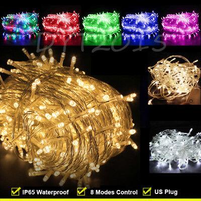 Outdoor Fairy Lights 100-200 LED Waterproof Christmas Tree Wedding US PLUG IN - Xmas Lights Outdoor