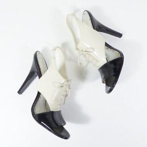 BCBG Girls Size 6 Patent Leather Tuxedo Slingback Heels