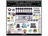 8 Camera Full CCTV Kit, 960H HD DVR 1TB HDD, 8x 900TVL IR-CUT Day/Night Cameras