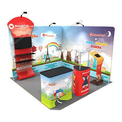 Trade Show A9 Corner Display Booth 10ft Tv Stand Display Shelves Kiosk