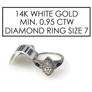 NEW* STAMPED 14K DIAMOND RING 7.25 466213 143929514 JEWELLERY JEWELRY 14K WHITE GOLD MINIMUM .95 CTW