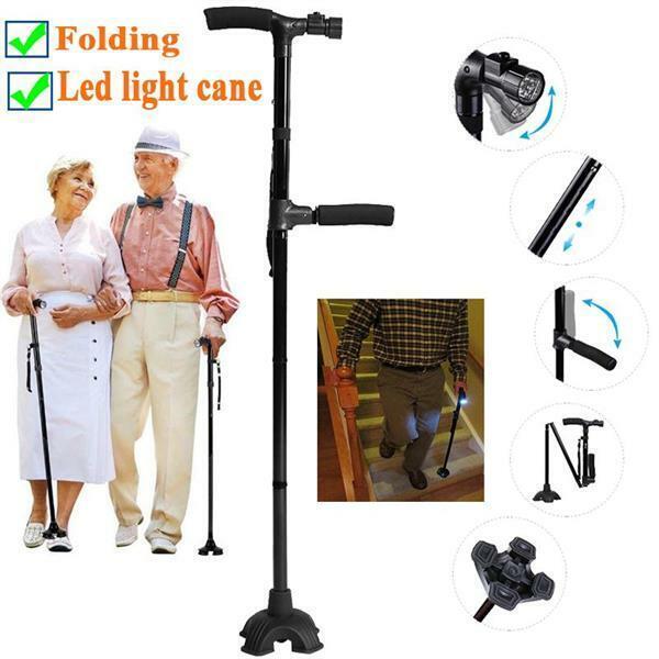 Folding LED Walking Stick Walking Cane 4Head All Terrain Pivoting Base HurryCane