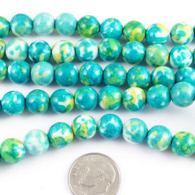 "Round Gemstone Beads-Aqua Blue Rain Flower Stone 8mm 15"" Strand (48)"