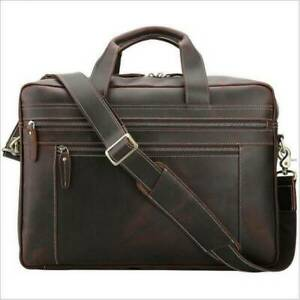 Genuine Leather Travel Briefcase Laptop on Trolley Case Messenger Bag