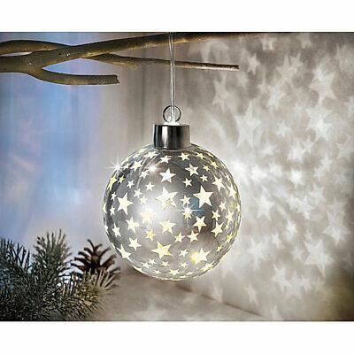 LED Glaskugel Stars Kugel Sterne Weihnachtskugel Timer Fensterdeko Hängedeko sil