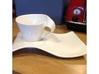 Villeroy and Boch Wave Set 4 x Caffe Cup and Plate