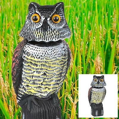 Scare Owl Large Realistic Possum Rodent Bird Pest Deterrent with Rotating Head