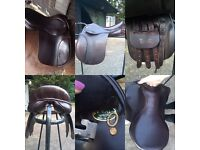 15 wide, brown working hunter leather saddle