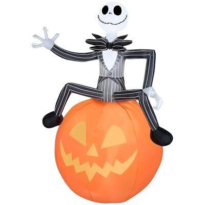 GEMMY AIRBLOWN INFLATABLE DISNEY HALLOWEEN JACK SKELLINGTON PUMPKIN LED 6FT NIB (Disney Halloween Inflatable Yard Decorations)