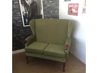 Wingback 2 seater sofa settee suite light green French legs - CAN DELIVER