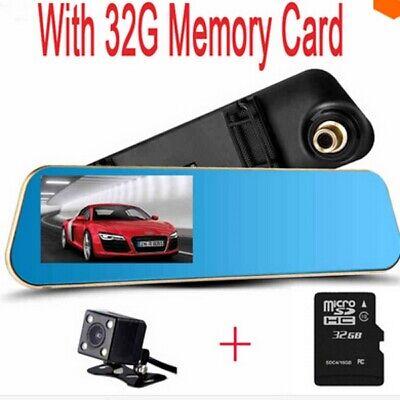 Kamera Bundle ( Dashcam Rückfahrkamera HD Rückspiegel Dual DVR G-Sensor Bundle mit 32GB SD Card)