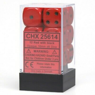 Chessex Opaque Red with Black 12 Dice Set - 6 Sided - 16mm d6 Dice Block