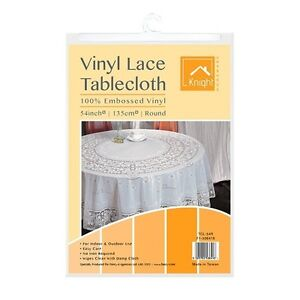 New White Lace Plastic Vinyl Tablecloth Round 54