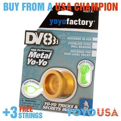 [WINTER SALE] YoYoFactory DV888 Responsive Metal Yo-Yo - Gold + STRINGS