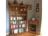 Solid Pine Bookcase and Wine Rack