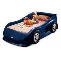 Lit little tikes blue car bed