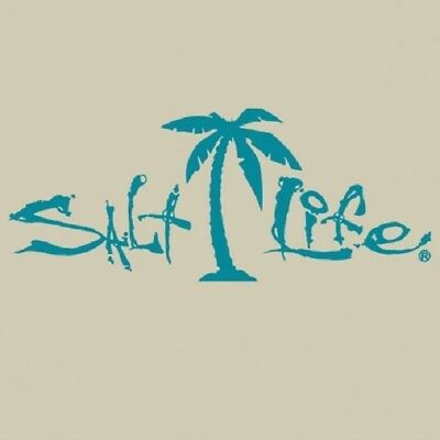 """SALT LIFE PALM TREE & SIGNATURE """"TEAL"""" UV Rated Vinyl DECAL *FREE SHIPPING*"""