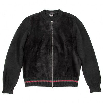 (SALE) GUCCI suede processing switching knit jacket Size L(K-19343)