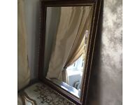 Heavy vintage wood and gold mirror