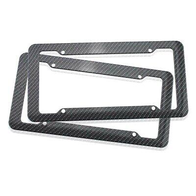 2PCS Carbon Fiber Patten License Plate Frame Tag Cover Original JDM US Standard