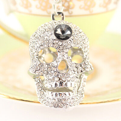 Small Silver Skull Fashion Keychain Crystal Charm Halloween Cute Fun Gift 01328 - Fun Halloween Gifts