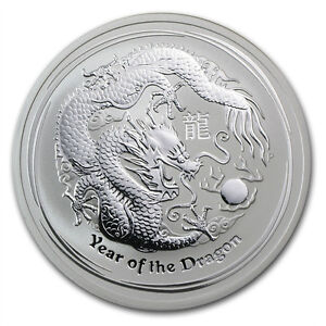 (1) 2012 2 OZ AUSTRALAIN SILVER LUNAR YEAR OF THE DRAGON COIN (SERIES 2)