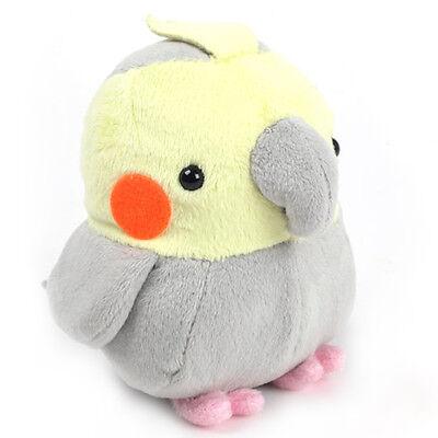 Soft and Downy Plush Bird Stuffed Toy Doll (Cockatiel / Grey / M size 11 cm)