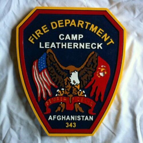 Fire Department Afghanistan 3d routed plaque wood patch sign Custom