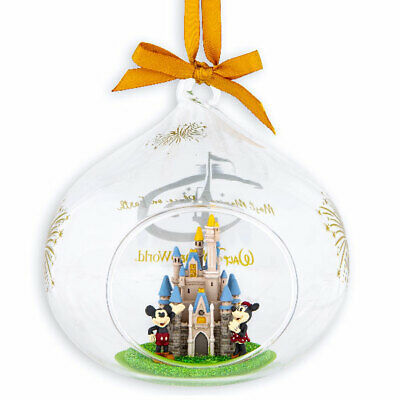 Disney Parks Cinderella Castle Glass Drop Ornament featuring Mickey and -