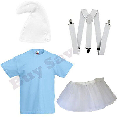 Lady Smurf Costume (LADIES SMURF SMURFETTE T SHIRT BRACES HAT & SKIRT FANCY DRESS)