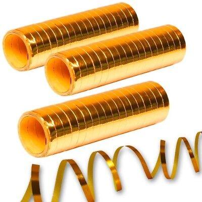 Metallic Luftschlangen goldfarben, 3er Pack, Partydeko, Goldene Hochzeit,