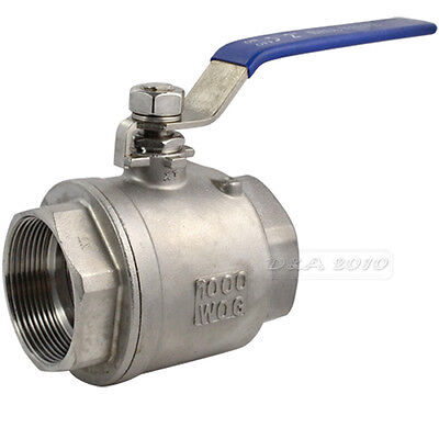 "Pro 2"" NPT Female 316 Stainless Steel Full Port Ball Valve Vinyl Handle megairon"