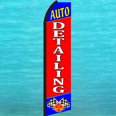 Auto Detailing Swooper Flag Car Wash Advertising Flutter Sign Feather Bow Banner