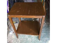 Retro wooden floating TV table or hostess trolley