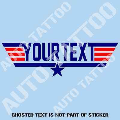YOUR TEXT TOP GUN Sticker Decal Top Quality Custom Stickers Air Force Style