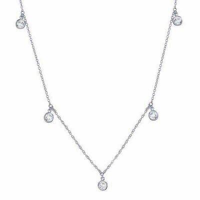 Authentic CRISLU Bezel Set Drops Chain Necklace in Platinum Crislu Drop Necklace