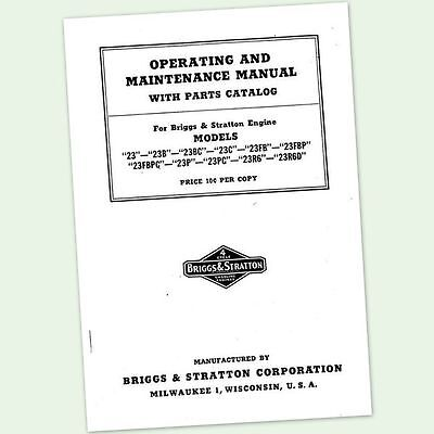 Briggs And Stratton Model 23bc 23fb Engine Owners Operators Parts Manual