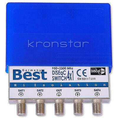 DiSEqC-Schalter 4/1 BEST Germany Wetterschutz SAT Umschalter Switch LNB 4K UHD