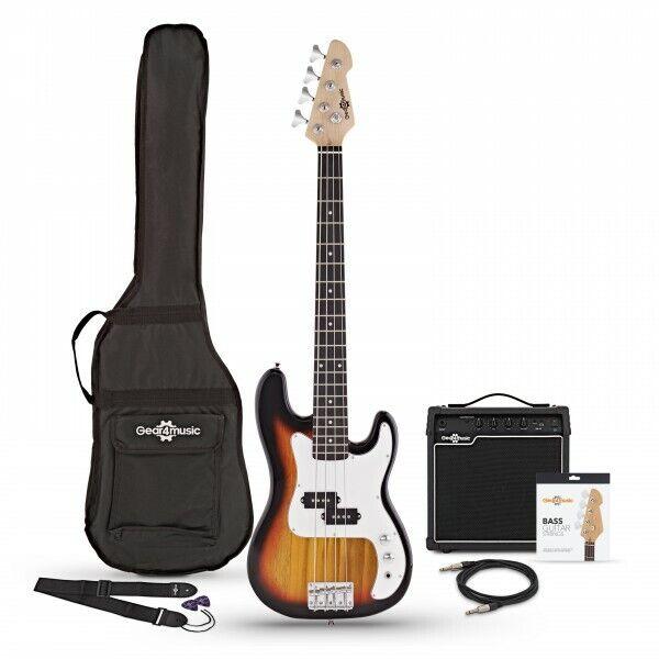 3/4 LA Bass Guitar + 15W Amp Pack Sunburst