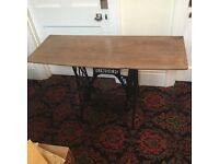 Singer sewing table with solid oak top