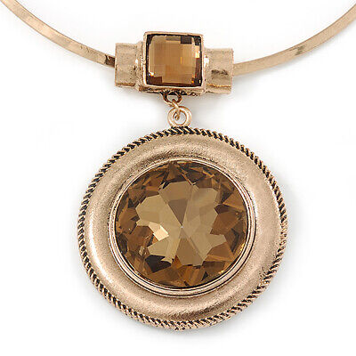 Large Round Champagne Glass Medallion Pendant with Gold Plated Metal Bar
