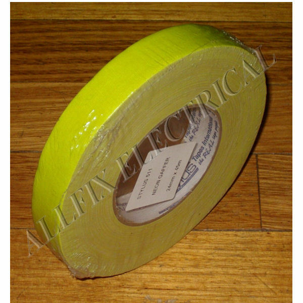 Stylus 511 Neon Flouro Yellow Gaffer Tape 45m X 24mm - Part # NCT24Y