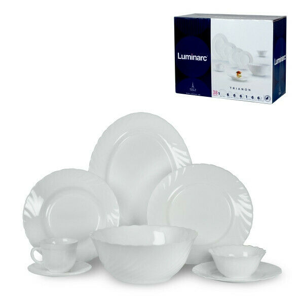 Luminarc Trianon 38 pc Glass Dinnerware Service / Tea Set Ma